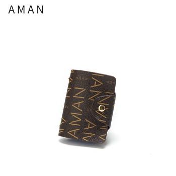 Aman大容量シングルカドケス大容量オシャレミニカード多機能カスタマイズカードケス限定8039コーヒー色大文字