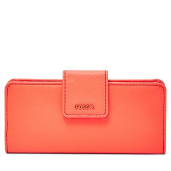 Fossil化石レディディ.スの金の布のお金が入ってきます。長さの二つ折りのMadison透明な窓の素面レジャーSW L 3077 P Neon Red one size。