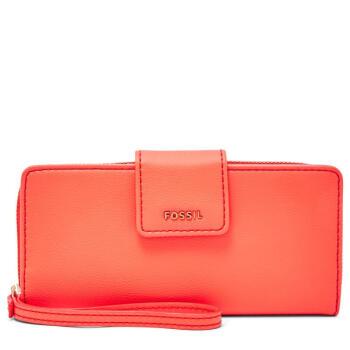 Fossil化石レイディングスのお金を手に持って、バッグを持ってお金を入れられます。長さの二つ折りのMadison透明窓レジャーSW L 3078 P Neon Red one size。