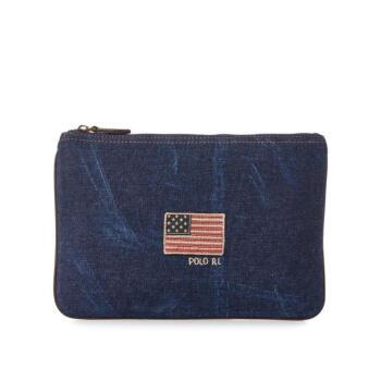 Ralph Lauren拉夫ローレンレンディックお金が入る収納バッグキャンバスファッショスナの小さい星条旗オシャレジャー453262 Navy One Size