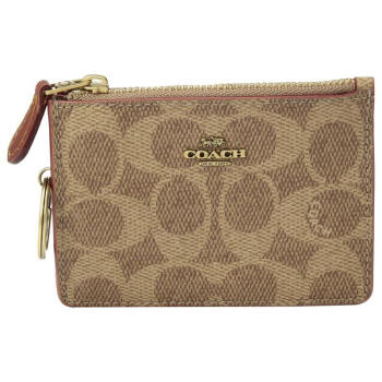 Coach comme Re di.sバッグカードケ-ス綴りのロゴプリントシンプロ贅沢品9202898 Tan/Rust/Brass One Size