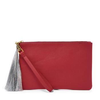 Fossil化石レディテスケースお金が入る収納バッグを持ってバッグを持っています。短いお金を持って、ファッショの皮質をつづり合わせてフリンジカジュアルSLG 1211 P Poppy Red one size