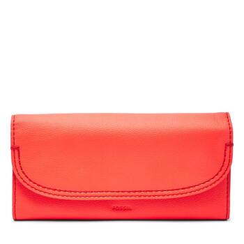 Fossil化石レディ.スの金の布のお金が入ってきます。長さの2つの折りりCleo素面レジャー日常SWEL 3093 P Neon Red one size。