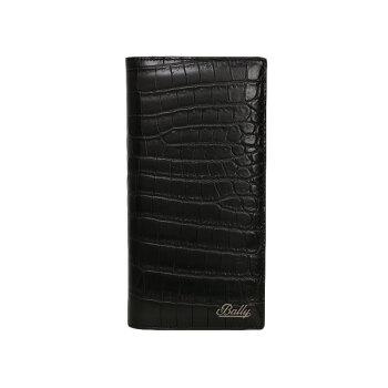Ballyバリー/mensスタイルのないクロコダイル柄の縦割りのお金で財貨を挟む布ケース6224270 CAEMブラック
